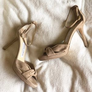 Jimmy Choo suede nude pumps/sandals